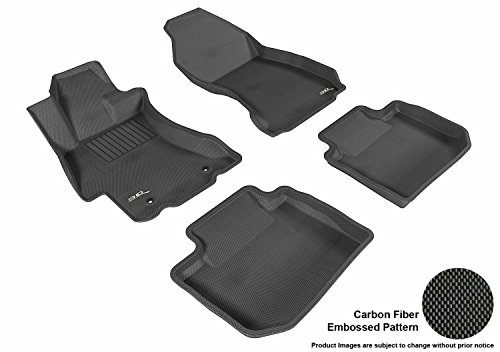 3D MAXpider Complete Set Custom Fit All-Weather Floor Mat for Select Subaru XV Crosstrek Models – Kagu Rubber (Black)