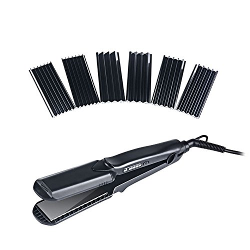 Hann 4 in 1 Hair Straightener Brush Electric Heating Ceramic Detangling Hair Comb,interchangeable plates hair straightener, flat plate, L,M,S wave plate 4 in 1 Hair Straightener, Black