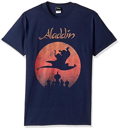 Disney Mens Aladdin Sunset Logo Poster Graphic T-Shirt