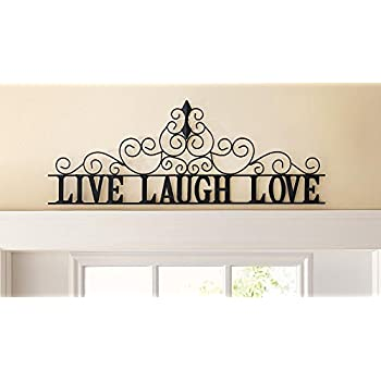 Nice Scrolling Live Laugh Love Metal Wall Art