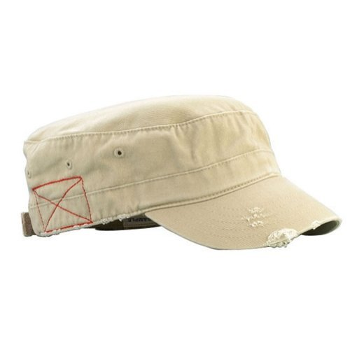 Mega Cap Cotton Distressed Washed Cadet Cap (Khaki)