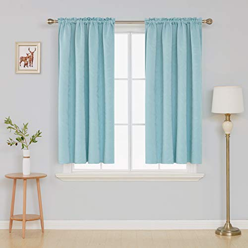 Deconovo Bamboo Leaf Pattern Rod Pocket Blackout Curtains Thermal Insulated Embossed Curtains for Living Room 52W x 54L Inch Light Blue 2 Panels