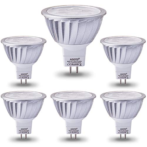 (AGOTD MR16 LED Bulbs 12V 7W, 50 Watts Halogen Lamp Equiv, GU5.3 Base, 560LM, 38°Deg,Warm White 2700K, Pack of 6)