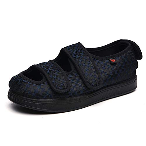 CWAIXXMM Men's Diabetic Shoes, Unisex Diabetic Slippers Nursing Shoes Memory Foam Widening Adjustable Comfy Arthritis Edema Swollen House Shoes,Blue,13.5Men (Home Remedy For Swollen Feet Due To Arthritis)
