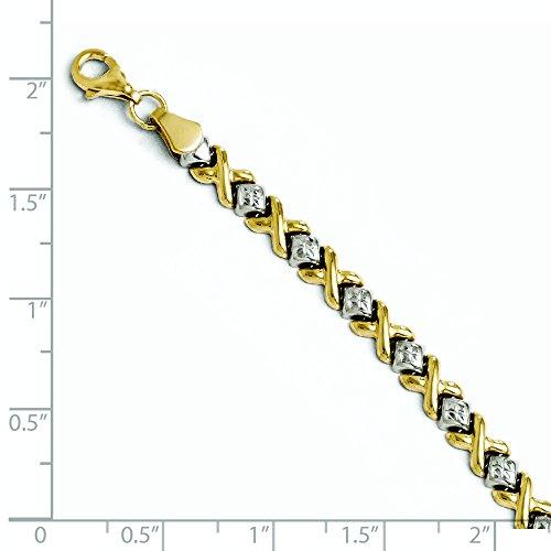 10 k deux tons Taille diamant 7 pouces Bracelet Doré Grade supérieur à JewelryWeb or 9 carats