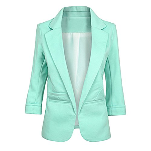 SEBOWEL Women's Fashion Cotton Rolled up 3/4 Sleeve Slim Office Blazer Jacket Suits Light Green M]()