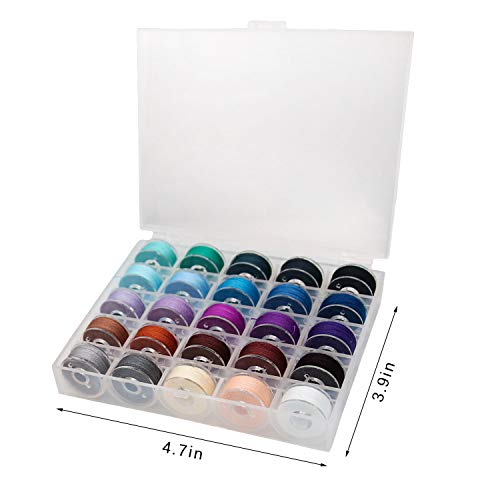 50 Pcs Prewound Thread Bobbins and 25 Pcs Transparent Plastic Sewing Bobbins with Case for Brother, Babylock, Janome and Singer (50 Colors)