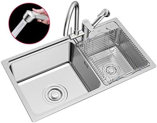 流し台シンク キッチンステンレス製食器洗い機/蛇口付きモダン家庭用流し/グレー耐久性のあるスクエアレストランシンク (Color : Gray-A, Size : 80*45*21 cm)