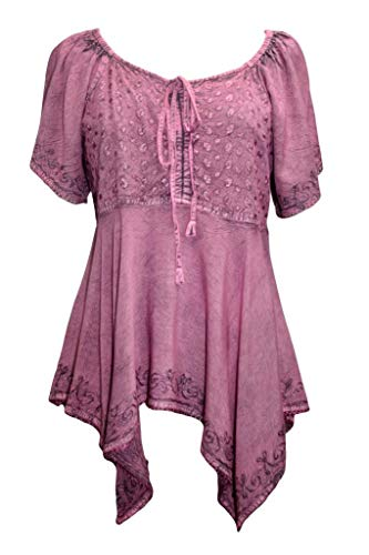 18605 B Women's Boho Uneven Hem Renaissance Blouse Top (M, Plum)]()