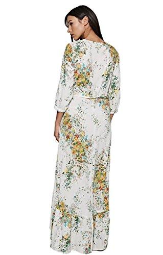 Love Stitch Women's Floral V-Neck Wrap Maxi Dress with 3/4 Sleeves and Ruffle Bottom Hi-Low Hem (Medium, Vanilla/Apple Multi) by Love Stitch (Image #1)