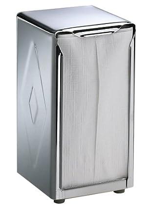"San Jamar H900X Stainless Steel Tallfold Table-Top Napkin Dispenser, 3-3/4"" Width x 7-1/2"" Height x 4"" Depth, Chrome"