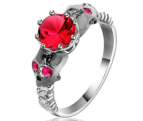 (Lucky Dora Black White Gold Two-Tone Plated Red Lab Stone Garnet CZ Skulls Rings for Women Statement, Size 5)