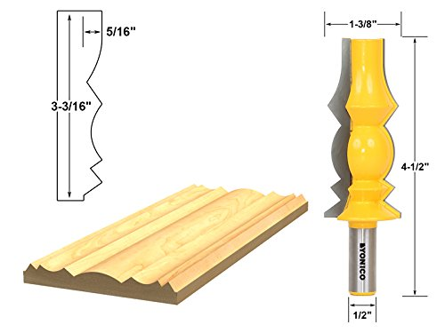 - Yonico 16149 Large Reversible Crown Molding Router Bit 1/2
