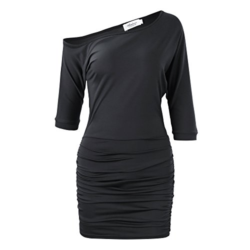 Anxihanee-Womens-Sexy-Off-Shoulder-Party-Club-Ruched-Bodycon-Mini-Dress