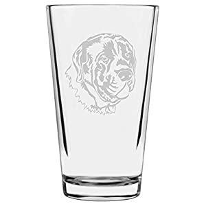 English Mastiff Dog Themed Etched All Purpose 16oz Libbey Pint Glass 14