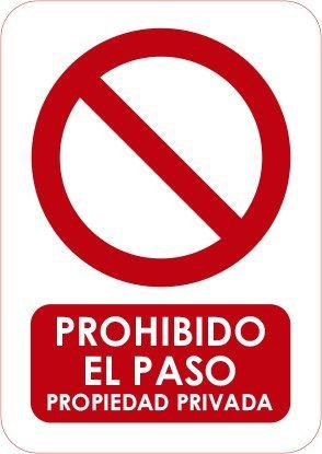 Oedim Señaletica Para Exteriores Prohibido el paso Tamaño A5 (21x14,8cm) | Señaletica en material aluminio 3 mm resistente: Amazon.es: Hogar