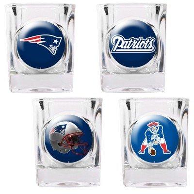 NFL New England Patriots Four Piece Square Shot Glass Set (Individual Logos)