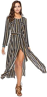 6fee02067875a YAN Vestido de Mujer Camisa de Manga Larga a Rayas con Estampado de Rayas  Vestido a Rayas con a Rayas Vestido de cóctel de Nueva división y Verano  Boda de ...