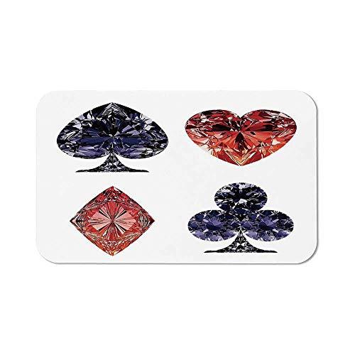 Diamond Decor Ordinary Mouse Pad,Diamond Shaped Cards Poker Face Fortune Symbols Sapphire Dijital Prints for Computers Laptop Office & Home,11.81''Wx27.56''Lx0.08''H