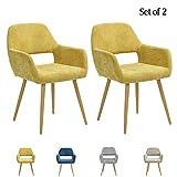 FurnitureR Set de 2 Silla de Comedor y Silla de salón con reposabrazos de diseño Europeo Amarilla