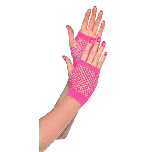Pink Short Fishnet Gloves, Party Accessory ()