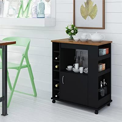Wood Composite Kitchen Beverage Cart, Black and Pine