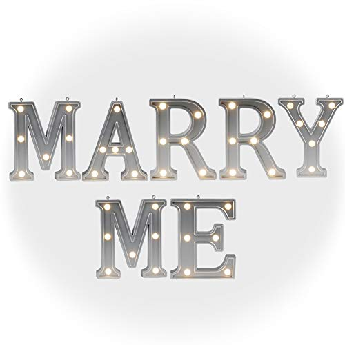 """DELICORE Valentine Gift – Light Up Marry Me Sign with Warm White LEDs - Proposal Sign - Will You Marry Sign - Wedding Sign - Engagement Sign - Romantic Proposal – 4.21"""" Tall Silver Color - Marry ME -"""