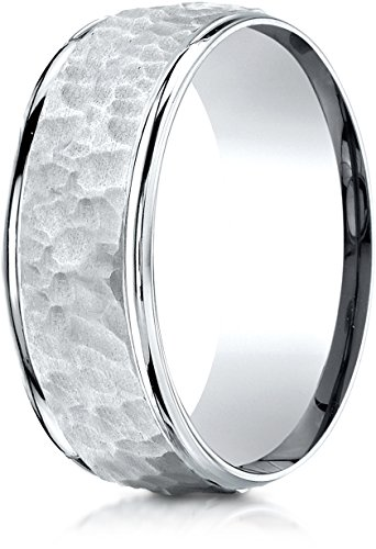 Benchmark 10k White Gold Comfort-Fit 8mm High Polish Edge...