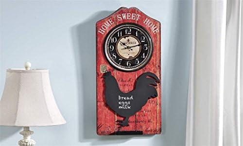 Vintage Red Black Rooster Chalkboard Home Sweet Home Clock