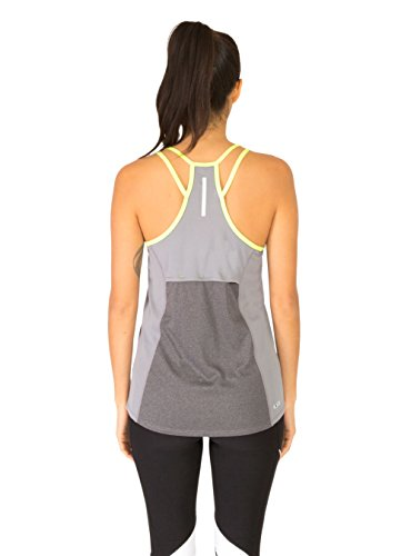 RBX Active Women's Strappy Racer Back Tank with Closed Mesh Charcoal w/ Lemon M