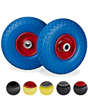 Relaxdays 2 x steekwagenwiel, lekbestendige massief rubberen banden, 3,00-4 inch stalen velg, 20 mm as, 100 kg, 260 x 85 mm, blauw-rood