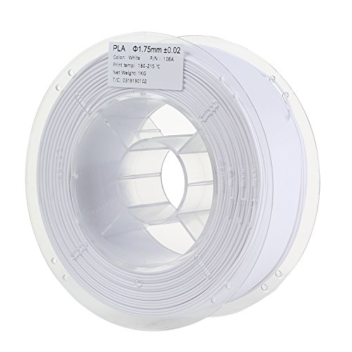 HICTOP 1.75mm White PLA 3D Printer Filament - 1kg Spool (2.2 lbs) - Dimensional Accuracy +/- 0.02mm by HICTOP