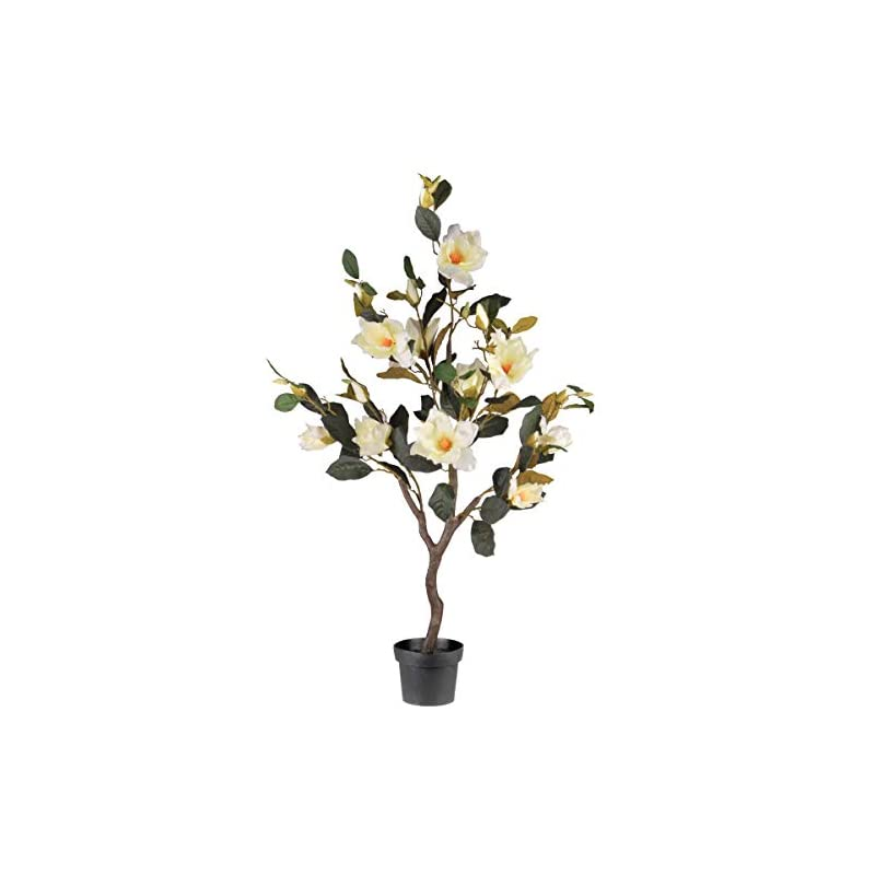 silk flower arrangements national tree compnay black artificial tree 48 inch magnolia fake plant indoor and outdoor - includes growers pot base