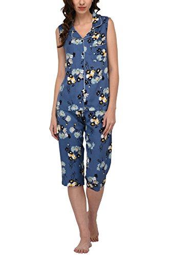 Women's Sleepwear 2 Pc Sleeveless Pajama Notch Collar Button Down Top & Capri Set/Pajama Pant Set (Blue Floral, M)