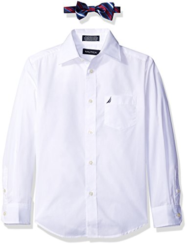 Nautica Boys' Long Sleeve Shirt & With Bow Tie, White, 10