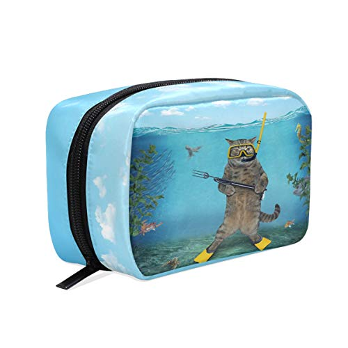(Cat Diver Spear Gun Sea Cosmetic Bag Makeup Case, Animal Under Water Toiletry Bags Travel Organizer Multifunction Purse for Women Adult Kids Vacation Bathroom )