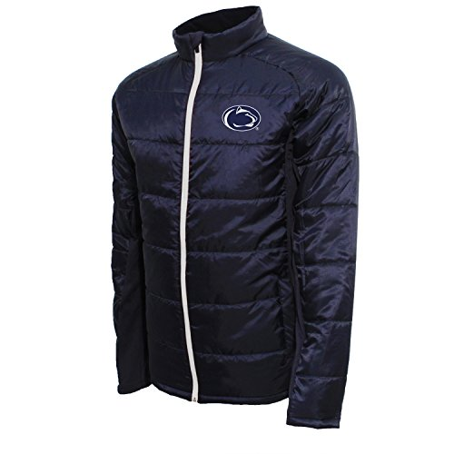 Crable Adult NCAA Men's Campus Specialties Full Zip Quilted Puffer Jacket, Navy/White, Large