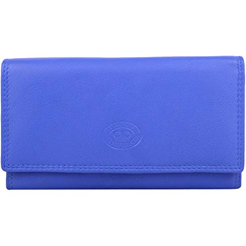 Ladies / Womens Leather Matinee Style Bi-Fold Money / Coin Holder / Purse RFID Protected - Periwinkle ()