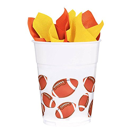 Football 14oz. Plastic Favor Cup (8 Pack) - Party Supplies -