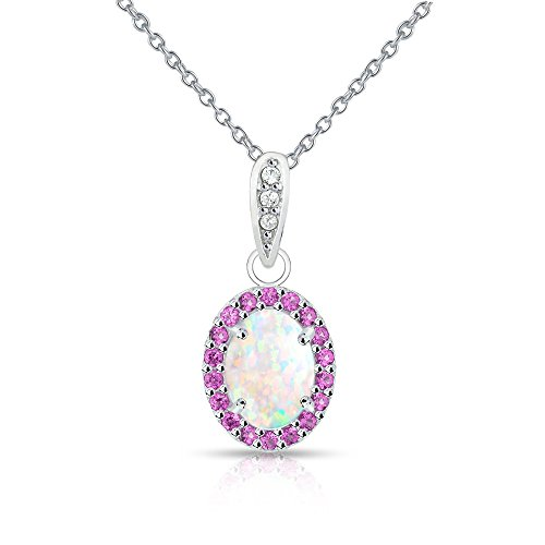 Sterling Silver Simulated White Opal and Simulated Ruby Oval Halo Necklace (Opal Jewelry Birthstone)