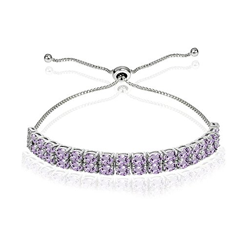 Sterling Silver Amethyst Oval-Cut Two Row Adjustable Tennis Bracelet