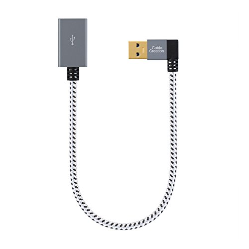 USB 3.0 Right Angle Male to USB 3.0 Female Extension Cable - 8