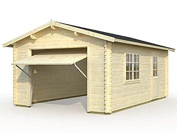 CASETA MADERA GARAGE 2 CON PUERTA DE MADERA ABATIBLE 23,8M2 470x570: Amazon.es: Bricolaje y herramientas