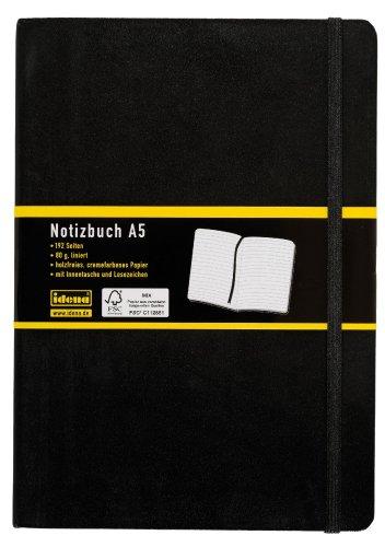 Idena 209284 - Notizbuch DIN A5, 192 Seiten, 80 g/m², liniert, schwarz