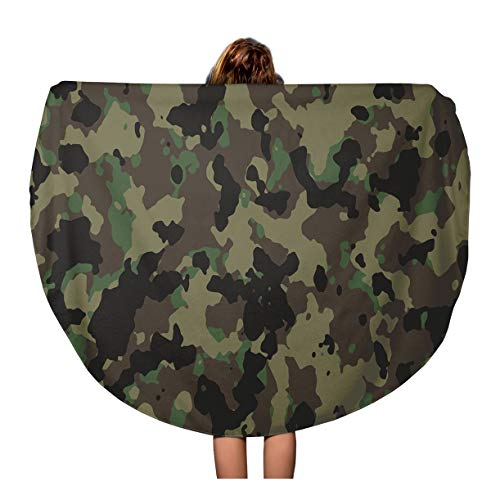 (Pinbeam Beach Towel Brown Camouflage Woodland Camo Green Pattern Military Army Travel 60 inches Round Tapestry Beach Blanket)