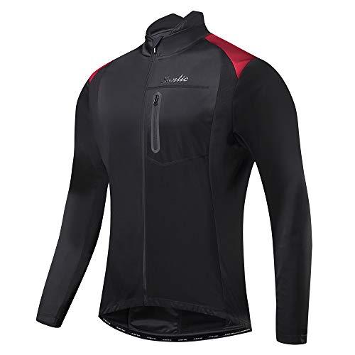 Santic Bike Winter Jacket Windproof Fleece Thermal Warm UP Cycling Bicycle Jerseys Long Sleeves Black US M(CN L) Air Strip L/s Shirt