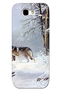 Case For Galaxy Note 2 Tpu Phone Case Cover(wolves Winter ) For Thanksgiving Day's Gift