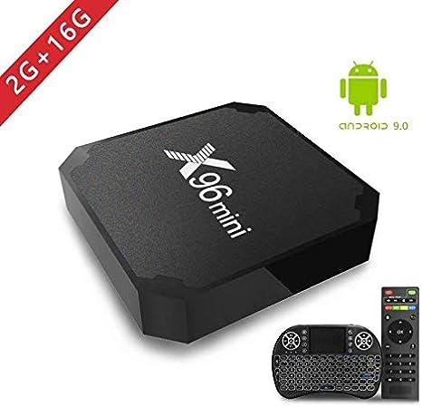 2018 Android TV Box, X96 Mini Smart TV Box con Mini Teclado Android 7.1 Neueste Amlogic S905W Quad Core Prozeßor, 4K Ultra HD H.265, 2 x USB-Anschluss, HDMI, WiFi Media Player: Amazon.es:
