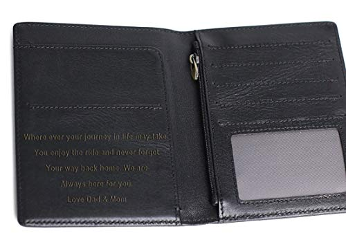 Personalized Mens Wallet, Leather Wallet Bifold RFID Personalized Gifts for Men (Black-02#)
