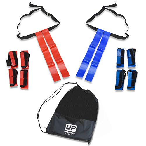 Unlimited Potential Flag Football Set,Premium Football Gear, Durable Flags - Set of 10 Flags Only (5 Red / 5 Blue) + 1 Bag